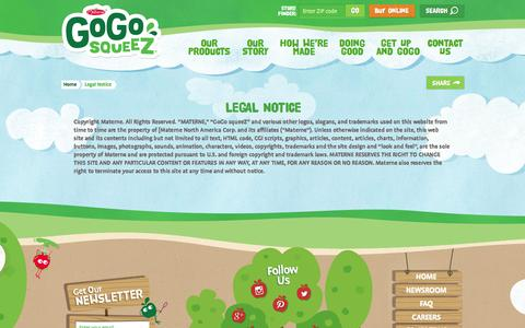 Screenshot of Terms Page gogosqueez.com - Legal Notice - GoGo squeeZ - captured Feb. 5, 2016