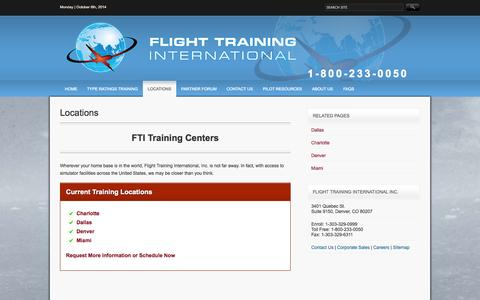 Screenshot of Locations Page ftiratings.com - Locations | 747 & 737 Type Rating | a330, a340, a320 Flight Training - captured Oct. 6, 2014