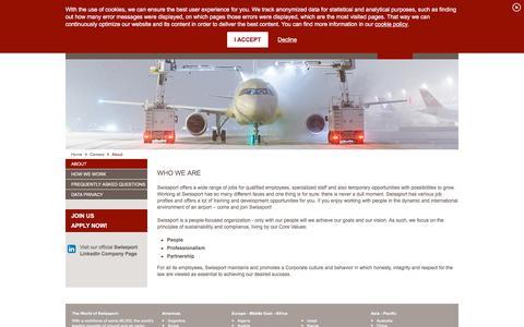 Screenshot of About Page swissport.com - Swissport International Ltd.- Careers- About - captured Nov. 6, 2019