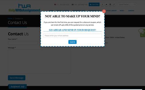 Screenshot of Contact Page helpwithassignment.com - Contact Us   Assignment Help  Homework Help - captured Nov. 7, 2016