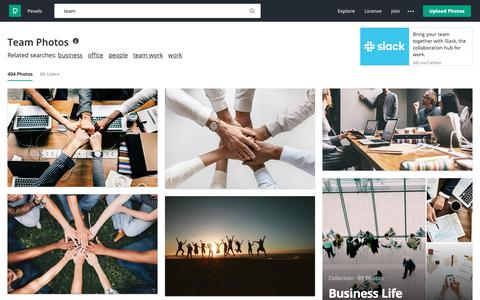 Screenshot of Team Page pexels.com - 250+ Beautiful Team Photos · Pexels · Free Stock Photos - captured March 14, 2019