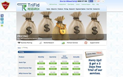 Screenshot of Pricing Page trifidresearch.com - Best Stock Prices – Trifid Research - captured Oct. 10, 2014