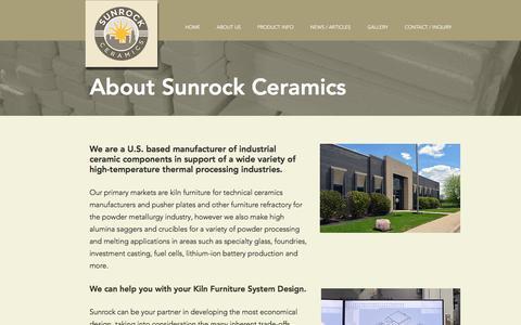 Screenshot of About Page sunrockceramics.com - ABOUT US   Sunrock Ceramics   United States - captured Oct. 4, 2019
