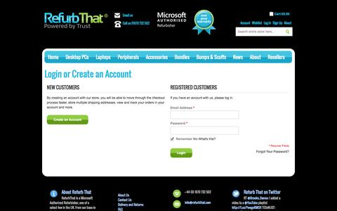Screenshot of Login Page refurbthat.com - Customer Login | RefurbThat - captured Oct. 10, 2014