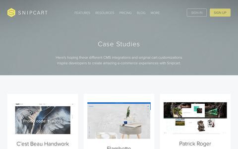 Screenshot of Case Studies Page snipcart.com - Case studies - Snipcart - captured Nov. 4, 2018