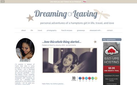Screenshot of About Page dreamingofleaving.com - Dreaming of Leaving...How This Whole Thing Got Started - captured Jan. 7, 2016