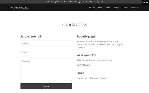Screenshot of Contact Page weinbauer.com - Contact Us | Wein-Bauer, Inc. - captured Sept. 21, 2018