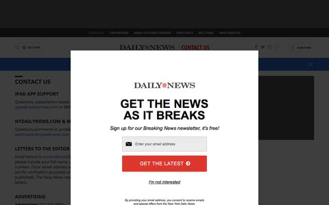 Screenshot of Contact Page nydailynews.com - Contact Us - NY Daily News - captured May 22, 2018