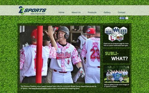 Screenshot of Home Page 27sports.com - 27 Sports | Custom Sublimated Team Jerseys - captured Sept. 30, 2014