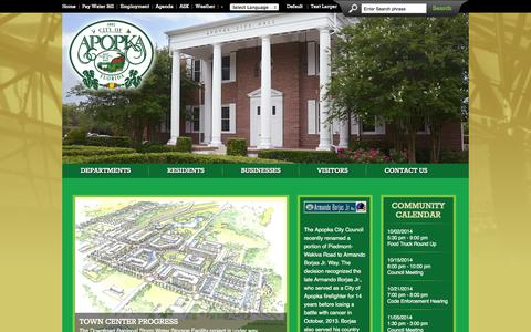 Screenshot of Home Page apopka.net - City of Apopka, Florida | The Indoor Foliage Capital of the World | The 14th Friendliest City in the U.S. - City of Apopka - captured Oct. 2, 2014
