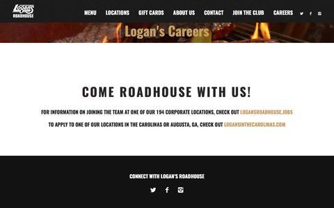 Screenshot of Jobs Page logansroadhouse.com - Careers at Logan's - Logans Roadhouse - captured May 5, 2017
