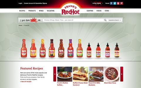 Screenshot of Products Page franksredhot.com - Frank's RedHot® Hot Cayenne Pepper Sauce | Products - captured Oct. 17, 2016