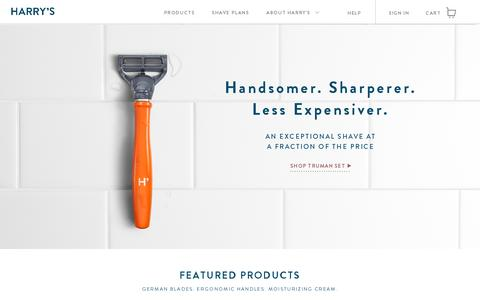 Screenshot of Home Page harrys.com - Harry's - Quality Men's Shaving Products. Fair Prices. Simple. - captured July 11, 2014