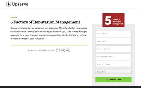 Screenshot of Landing Page upserve.com - Restaurant Reputation Management Guide | Upserve - captured April 9, 2018