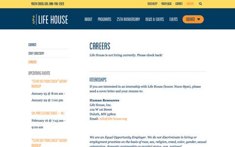 Screenshot of Jobs Page lifehouseduluth.org - Careers – Life House - captured Jan. 29, 2016