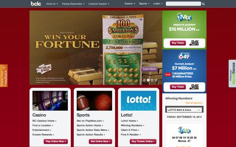 Screenshot of Home Page bclc.com - BCLC – Casinos, Sports Betting, Lottery Games & Online Gambling in BC - captured Sept. 23, 2014