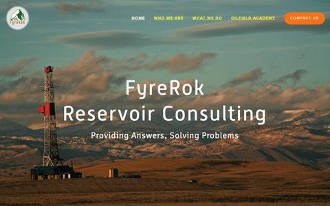 Screenshot of Home Page fyrerok.com - FyreRok Reservoir Consulting - captured Oct. 11, 2018