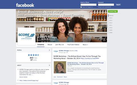 Screenshot of Facebook Page facebook.com - SCORE Chicago - Chicago, Illinois - Business Consultant | Facebook - captured Oct. 23, 2014