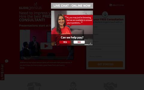 Screenshot of Landing Page slidegenius.com - PowerPoint Presentation Consultants | Speak With One Today - captured Oct. 5, 2016