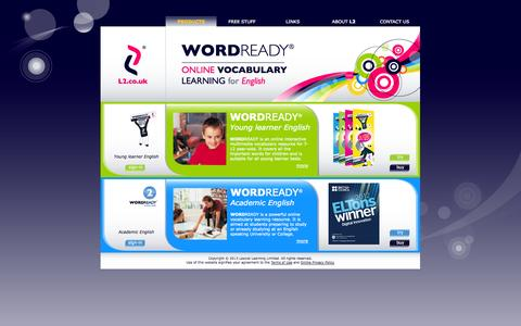 Screenshot of Home Page l2.co.uk - WORDREADY® - Online vocabulary learning for English - captured Sept. 26, 2014