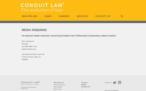 Screenshot of Press Page conduitlaw.com - Media | Conduit Law: The Evolution of Law - captured Oct. 2, 2014