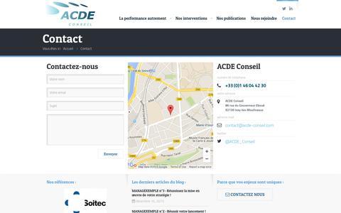 Screenshot of Contact Page acde-conseil.com - Contact - ACDE Conseil - captured Dec. 22, 2015
