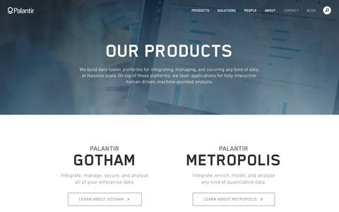 Screenshot of Products Page palantir.com - Our Products | Palantir - captured Sept. 13, 2014