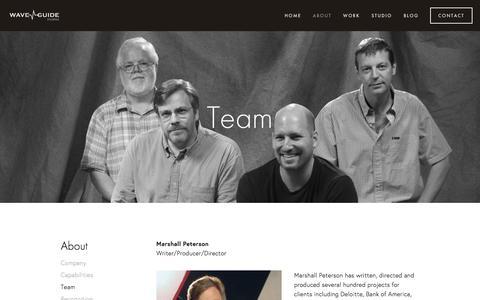 Screenshot of Team Page waveguidestudios.com - Team — WaveGuide Studios - captured Aug. 19, 2016