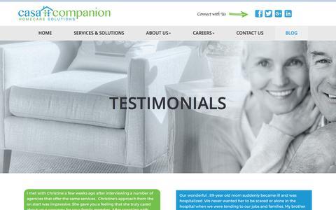 Screenshot of Testimonials Page casacompanionhomecare.com - Testimonials | Casa Companion Homecare Solutions - captured Oct. 26, 2016