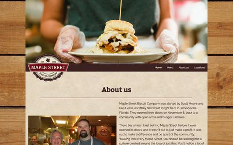 Screenshot of About Page maplestreetbiscuits.com - About us – Maple Street Biscuit Company - captured Oct. 27, 2014