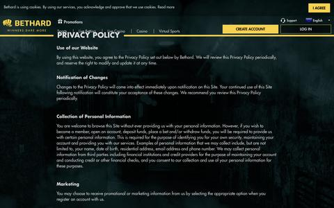 Screenshot of Privacy Page bethard.com - Bethard - Privacy policy - captured Feb. 17, 2017