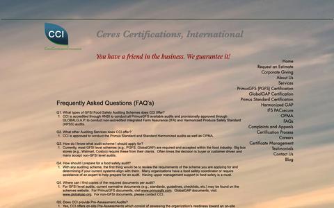 Screenshot of FAQ Page ceresci.com - FAQs - captured Nov. 9, 2018