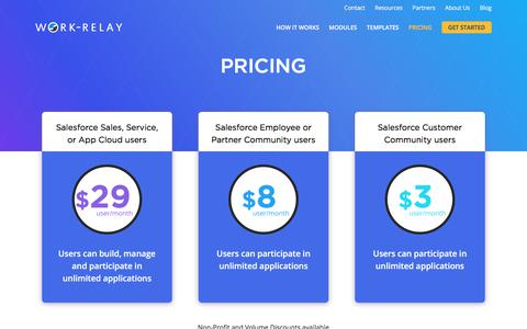 Screenshot of Pricing Page work-relay.com - Pricing | Work-Relay - captured Aug. 23, 2017