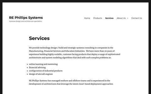 Screenshot of Services Page rephillips.com - Services – RE Phillips Systems - captured Nov. 17, 2018