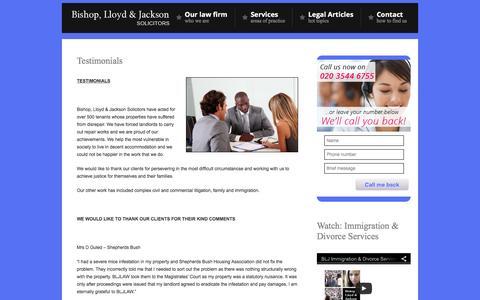 Screenshot of Testimonials Page bljlaw.co.uk - Testimonials - - captured Feb. 7, 2016