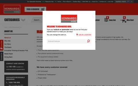 Screenshot of About Page kennards.com.au - About Kennards Hire - captured Nov. 10, 2016