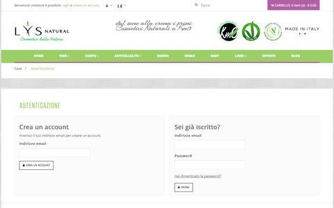 Screenshot of Login Page lysnatural.com - Autenticazione - captured Oct. 29, 2014