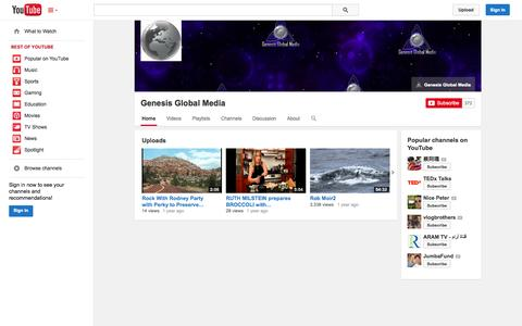 Screenshot of YouTube Page youtube.com - Genesis Global Media  - YouTube - captured Oct. 22, 2014