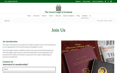 Screenshot of Signup Page grandlodgescotland.com - Join Us - The Grand Lodge of Scotland - captured Oct. 25, 2018