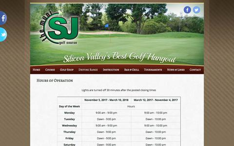 Screenshot of Hours Page sjmuni.com - Hours of Operation | San Jose Municipal Golf Course - captured Oct. 4, 2017