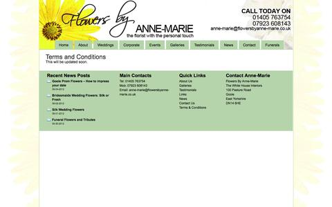 Screenshot of Terms Page flowersbyanne-marie.co.uk - Goole Florists | Wedding Flowers in Goole | Funeral Flowers  Goole Florists | Wedding Flowers in Goole | The Goole Florist for value - captured Sept. 30, 2014