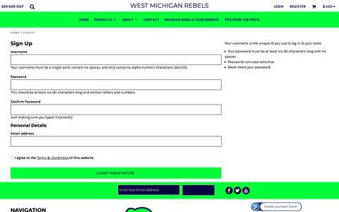 Screenshot of Signup Page rebelsspirit.com - Signup West Michigan Rebels - captured Oct. 24, 2018