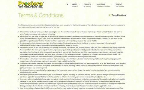 Screenshot of Terms Page proviera.com - Terms & Conditions - Proviera: Probiotic Products - captured Oct. 3, 2014