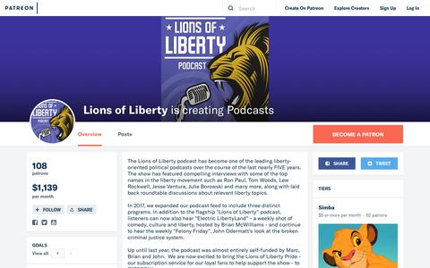 Screenshot of Support Page patreon.com - Lions of Liberty is creating Podcasts   Patreon - captured Nov. 1, 2018