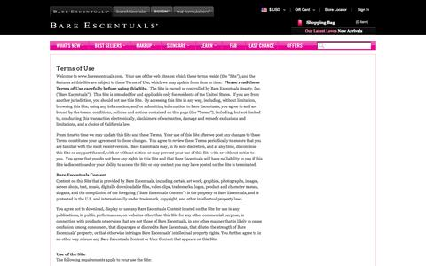 Screenshot of Terms Page bareescentuals.com - Terms and Conditions   bareMinerals - captured Sept. 18, 2014