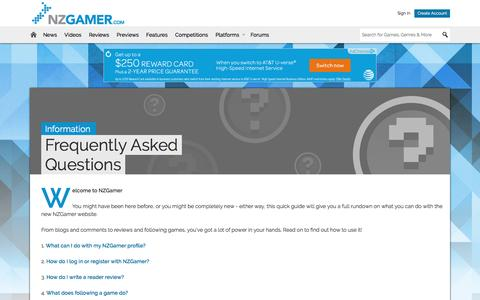 Screenshot of FAQ Page nzgamer.com - FAQs - NZGamer.com - captured Oct. 21, 2016