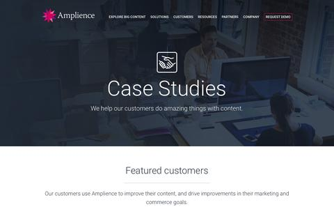 Screenshot of Case Studies Page amplience.com - Case Studies - Amplience - captured July 3, 2016