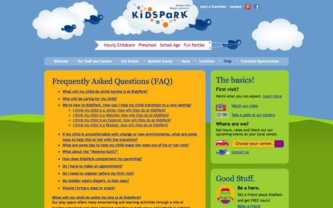 Screenshot of FAQ Page kidspark.com - KidsPark :  - Happy Kids. Happy Parents. - captured Oct. 6, 2014