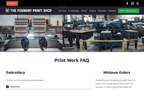 Screenshot of Services Page thefoundryclothing.com - Learn more about our screen-printing, embroidery and labeling work - captured Oct. 20, 2018