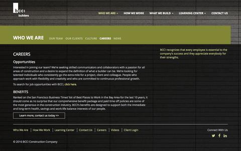 Screenshot of Jobs Page bcciconst.com - Careers – BCCI Construction - captured Nov. 21, 2016